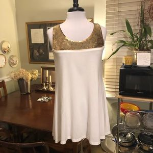 LaROK ivory tunic- gold sequin yoke - M